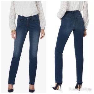 "NYDJ Jeans Marilyn Straight Leg High Rise 33"" Inseam Size 0/26 NWT"